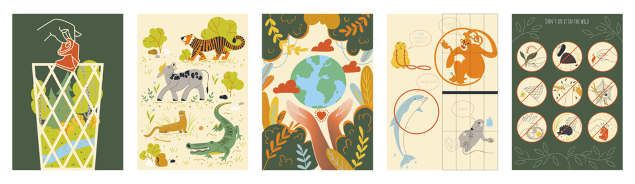A set of pre-made posters about environmental protection. Vector illustration.