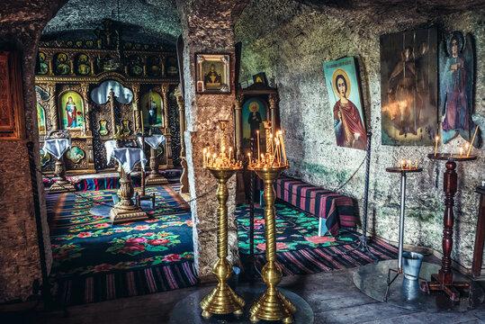 Trebujeni, Moldova - July 16, 2019: Chapel in monks cave in Old Orhei archaeological park, Trebujeni commune