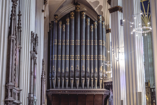Edinburgh, Scotland - January 17, 2020: Pipe organ in Saint John the Evangelist Church in Edinburgh city