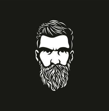 Hipster hair and beards,  Barber shop isolated vintage label badge emblem. Vector illustration.