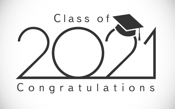 Class of 2021 year graduation logo. Awards or t-shirt sign. Happy holiday concept, education invitation card, congratulation digits. Isolated abstract graphic design template. Black and white style.