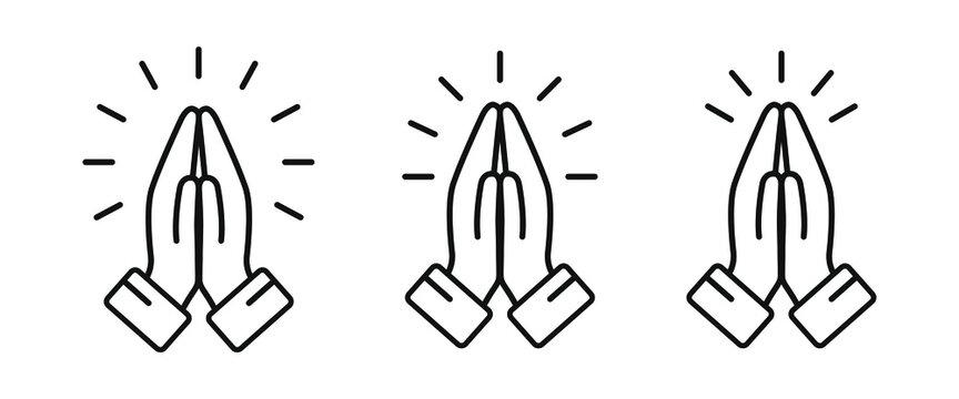 Pray icon set. Folded hands symbol. Simple thin line design. Vector illustartion.