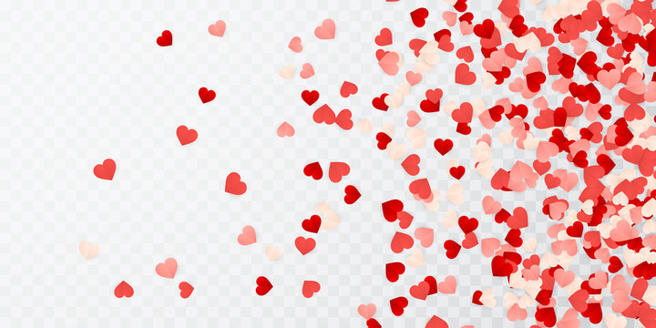 Happy Valentines Day background, paper red, pink and white hearts confetti. Vector illustration