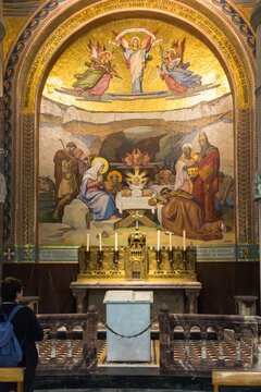 Lourdes, France, June 24 2019: Interior of the Rosary Basilica in Lourdes, France.