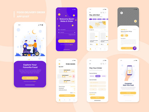 Food delivery mobile app ui kit including sign up, food menu, booking and home service type review screens