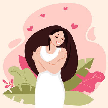 Love yourself. Love your body. Girl hugging yourself. Psychological and physical woman health. Relaxation