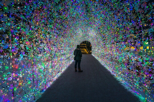 The tunnel of lights at Illumi, a  lights event in Laval (Quebec. Canada)