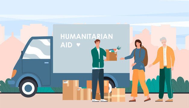Male volunteer gives box of humanitarian aid to a woman. Concept of charity donation and second hand things. Various old clothes in cardboard box. Support and help. Flat cartoon vector illustration