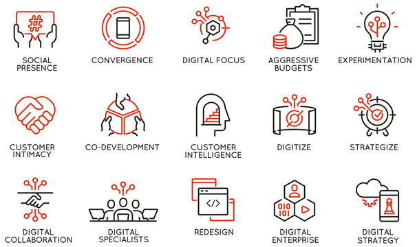 Vector Set of Linear Icons Related to Business Process Automation, Implementation of Innovative Business Models and Digital Transformation. Mono Line Pictograms and Infographics Design Elements