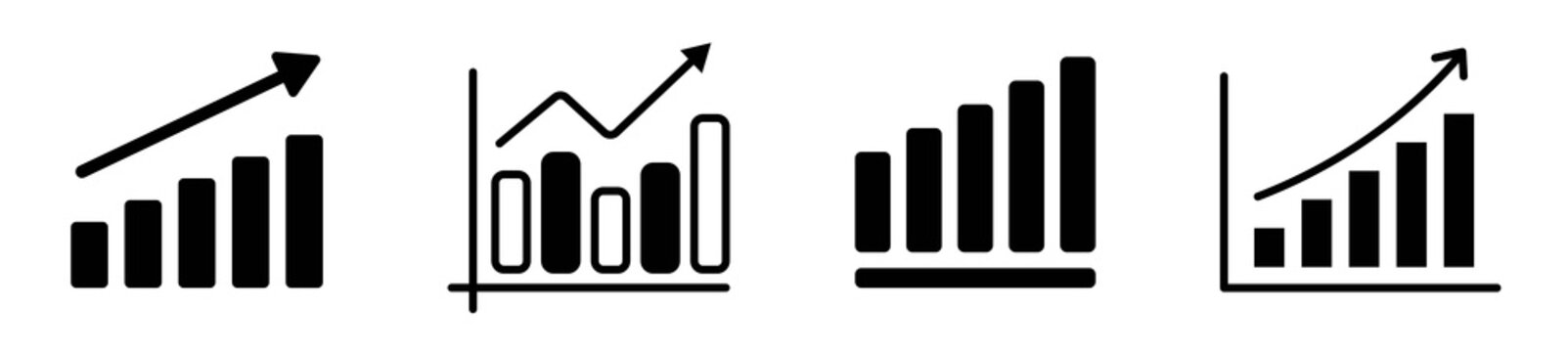 Set of growing bar graph icon in black on a white background
