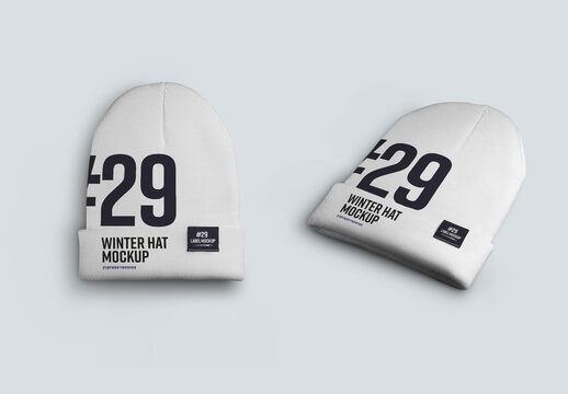 2  Winter Beanie Hat Mockups with Medium Lapel