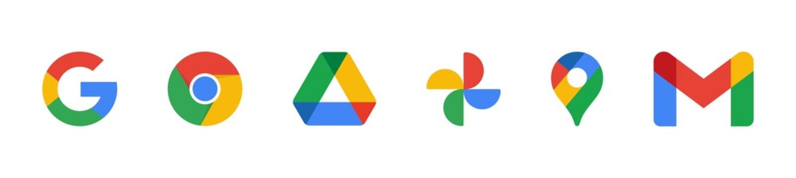 Google products and programs logo on a white background, google icons collections