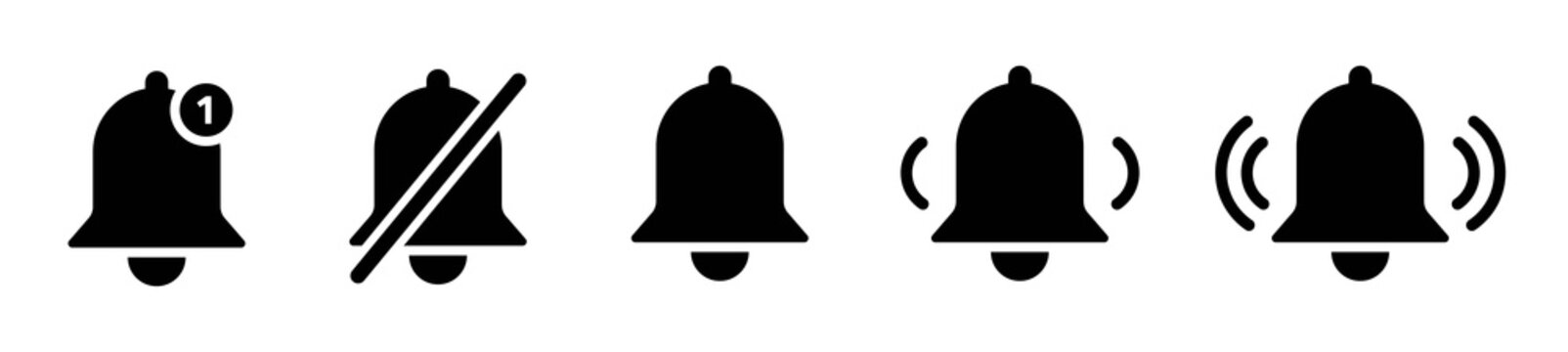 Set of notification bell icon for incoming inbox message