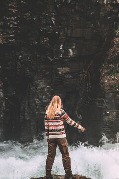 Tourist woman hiking in Sweden travel adventure vacation active healthy lifestyle girl traveler enjoying river canyon view wilderness nature