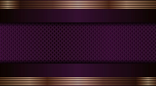 Abstract luxurious purple combination and golden overlap layer background . Modern creative dark navy luxury gold line overlapping style design