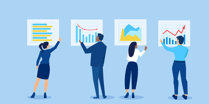 Vector of businesspeople analysing financial reports and investment opportunities reviewing charts and graphs