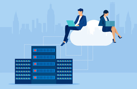 Vector of businesspeople working on laptops using cloud storage service