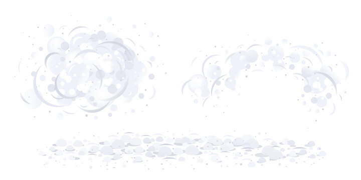 Dust clouds on air isolated illustration, dirty air with small particles of dust, gray dust cartoon clipart, cleaning surfaces from dust