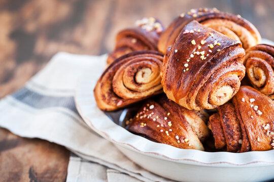 Homemade finnish cinnamon and cardamom rolls (buns)