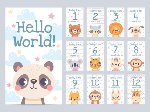 Baby month cards with animals. Monthly milestone stickers for newborn scrapbook. Kids age tags with sloth, lion, giraffe and fox vector set. Celebrating child growth with adorable characters