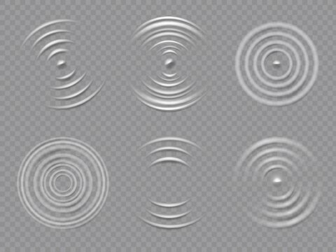 Ripples top view. Realistic water concentric circles and liquid circular waves. Round sound wave splash effects. 3d drop rings vector set. Fluid droplet making circles, purity and freshness