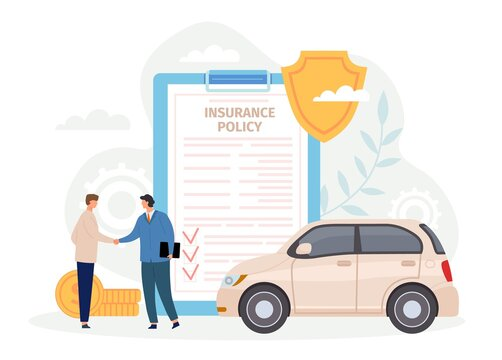 Car insurance policy. Man handshake with agent. Contract for safe and protect automobile from disaster or crash. Guarantee vector concept. Agreement for damaged vehicle service, deal