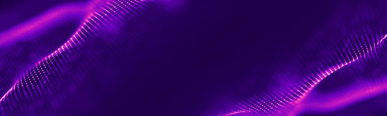 Futuristic wave. Purple technology light neon background. Digital technology music background. Computer network technology. Digital science concept. Digital technology backdrop.