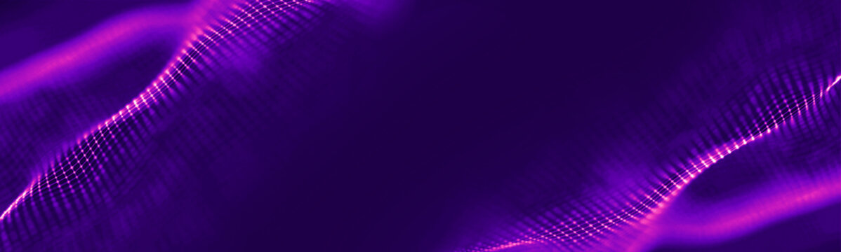 Futuristic wave. Purple technology light neon background. Digital technology music background. Computer network technology. Digital science concept. Digital technology backdrop.