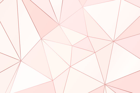 Rosegold Polygon abstract background.