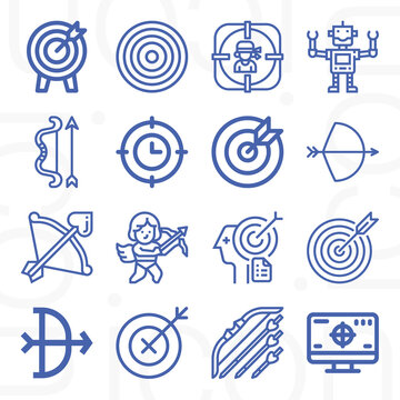 16 pack of adjectives  lineal web icons set