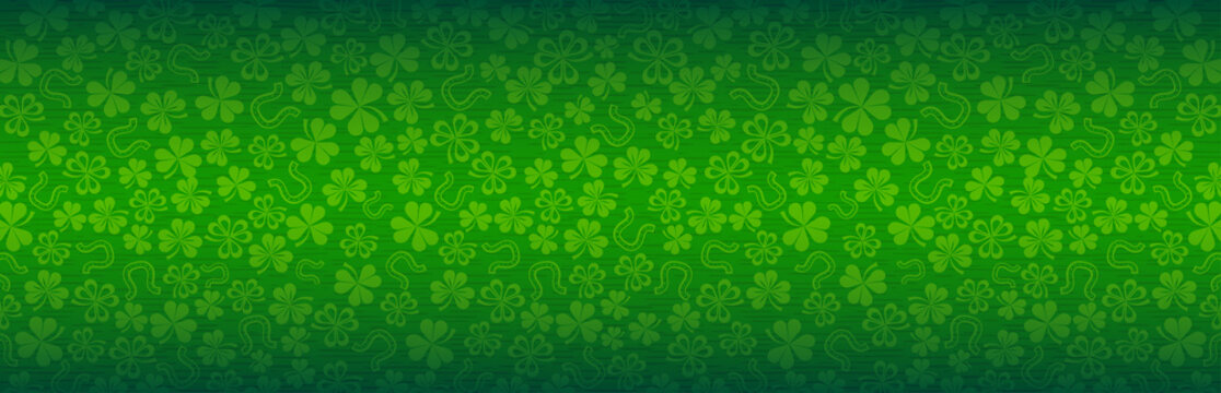 Green Patrick's Day greeting banner with green clovers. Patrick's Day holiday design. Horizontal background, headers, posters, cards, website. Vector illustration