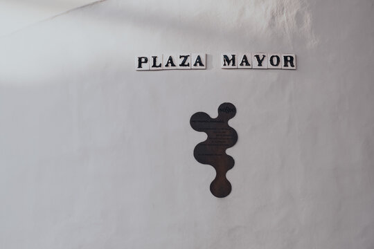 Seville, Spain - January 19, 2020: Close up of Plaza Mayor signs at the base of Metropol Parasol, Seville, Spain.