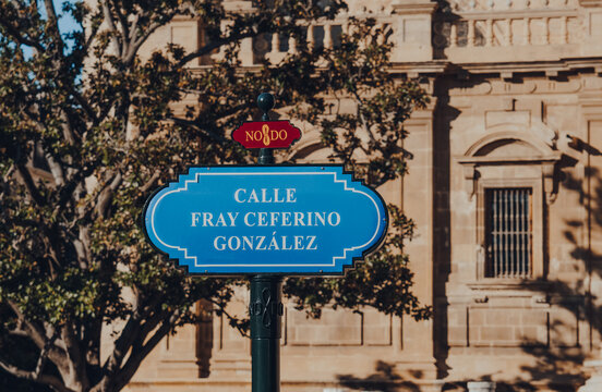 Seville, Spain - January 19, 2020: Street name sign on Calle Fray Ceferino Gonzales street in Seville, Spain.