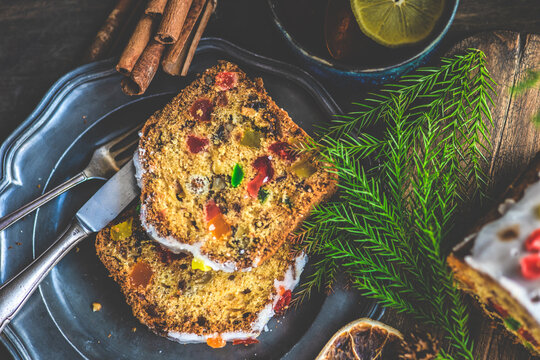 Overhead view of two slices of Christmas Stollen cake