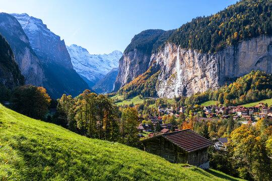 Lauterbrunnen village and Staubbach Falls, Bern, Switzerland