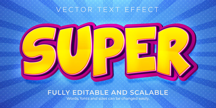 Cartoon super text effect, editable comic and funny text style