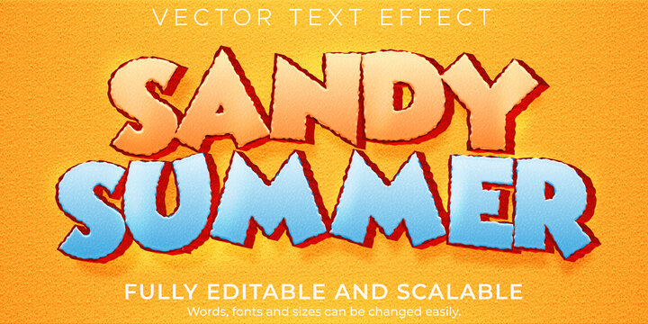 Cartoon sandy  text effect, editable comic and funny text style