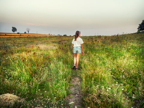 Rear view of a girl walking in the countryside, Poland