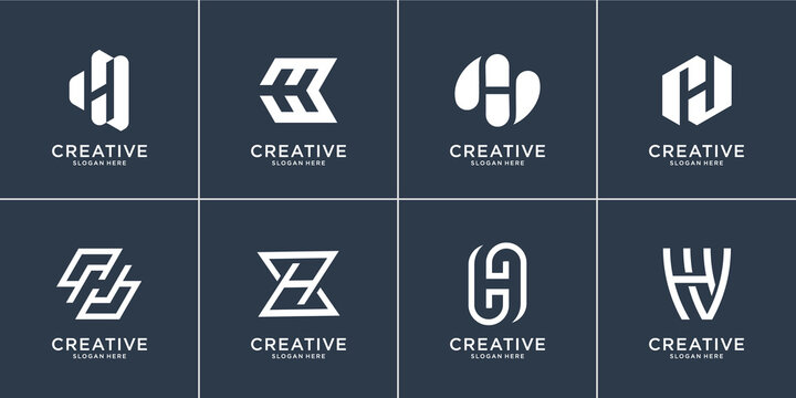 Set of collection letter H logo design template.logo can be used for building company,financial,consulting. Premium Vector