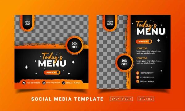 Flyer or social media post themed restaurant food menu template
