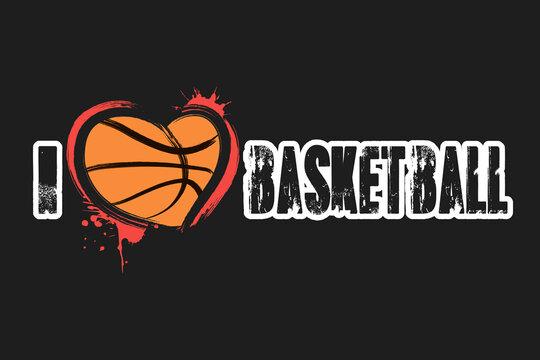 I love basketball. Design pattern on the basketball theme for greeting card, logo, emblem, banner, poster, flyer, badges. Vector illustration