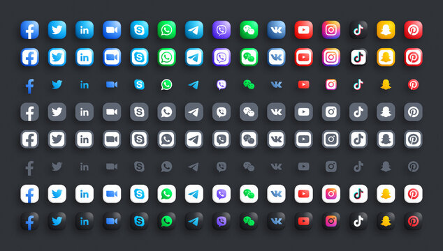 Popular Social Media Network And Messengers For Business Vector 3D Color And Black White Rounded Modern Icons Set In Different Variations On Dark Background. Facebook Twitter LinkedIn Zoom Whatsapp
