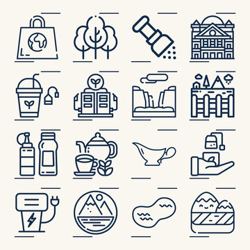 Simple set of utah related lineal icons.