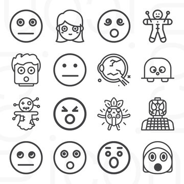16 pack of startled  lineal web icons set