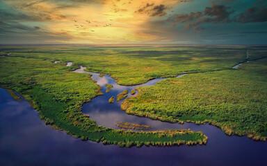 Aerial View of Florida Everglades Golden Hour Sunset - fototapety na wymiar