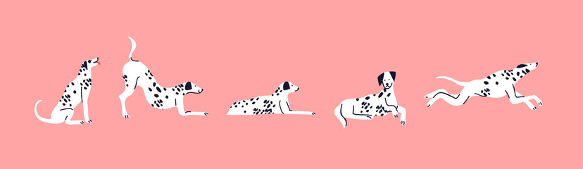 Dalmatian dog cartoon set cute pet isolated