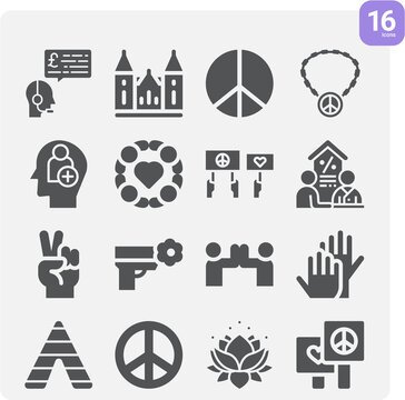 Simple set of treaty related filled icons.