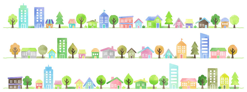 watercolor vector hand drawn houses illustration