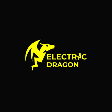 Vector Template Electric Dragon, Mythology, Lighting, Simple Concept