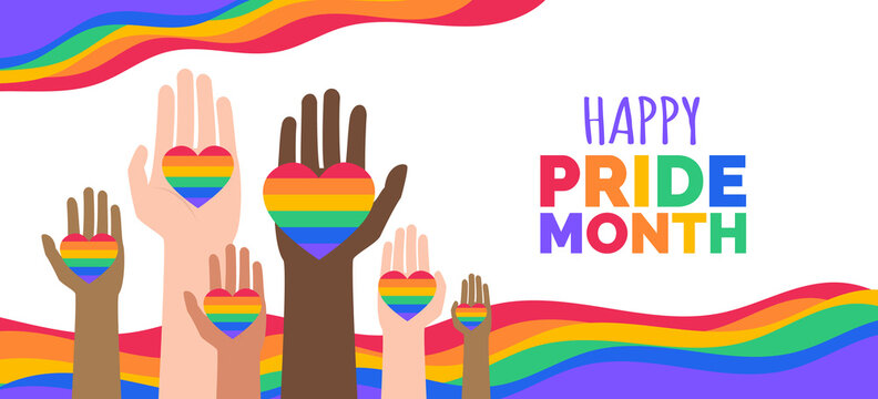 happy pride month lgbt multiracial hands with hearts vector illustration